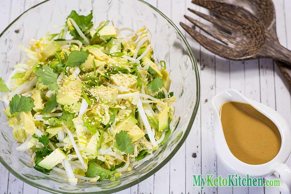 Low Carb Keto Salad with Peanut Dressing