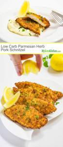 Low Carb Parmesan Herb Pork Schnitzel (Gluten Free, Ketogenic)