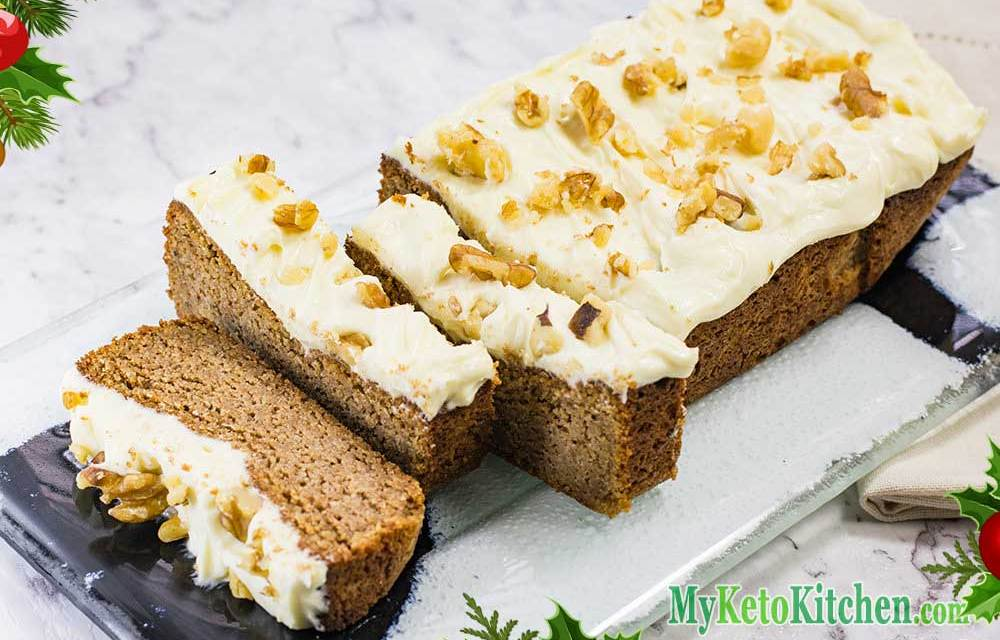 Gluten Free Cake Recipe – Frosted Gingerbread Loaf – 100% Keto