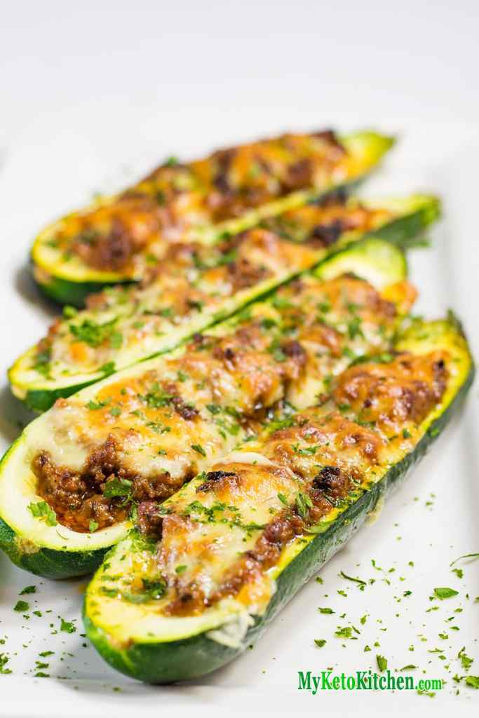 Low Carb Bolognese Stuffed Zucchini Boats