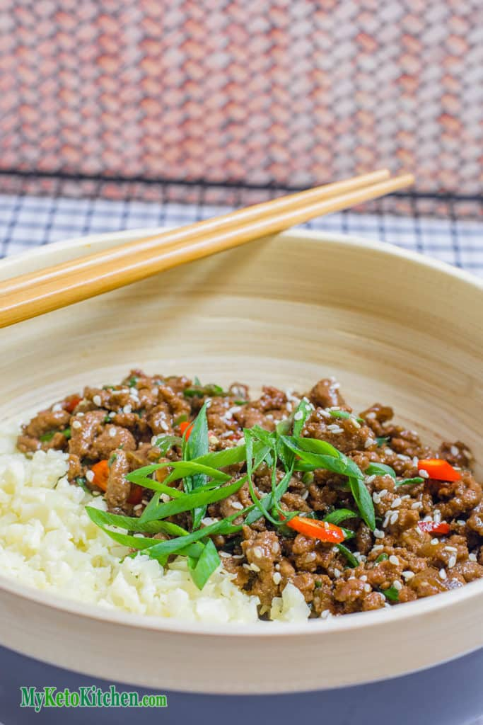 Low Carb Sticky Korean Ground Beef Stir Fry