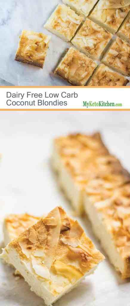 Dairy Free Low Carb Coconut Blondies [Gluten Free, Keto, Grain Free, Paleo]