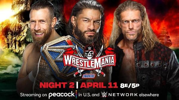 Triple Threat for the WWE Universal Title: Daniel Bryan vs. WWE Hall of Famer Edge vs. Roman Reigns with Paul Heyman (c)