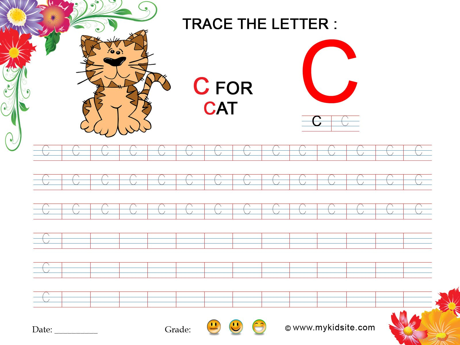 Tracing Worksheet For Letter C