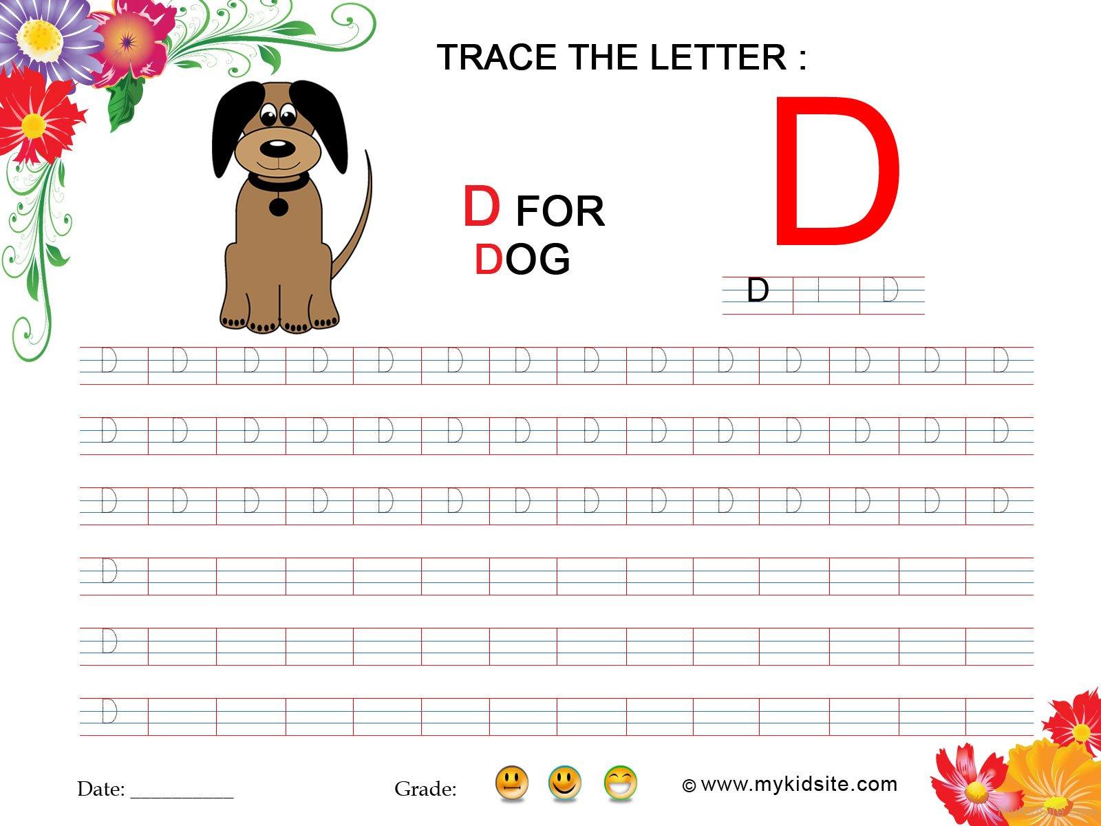 Tracing Worksheet For Letter D