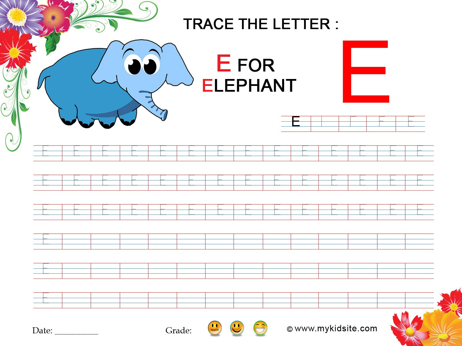 Tracing Worksheet For Letter E