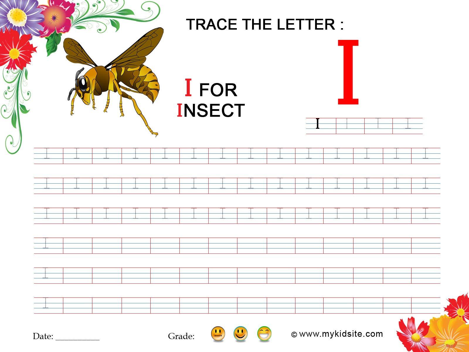 Tracing Worksheet For Letter I