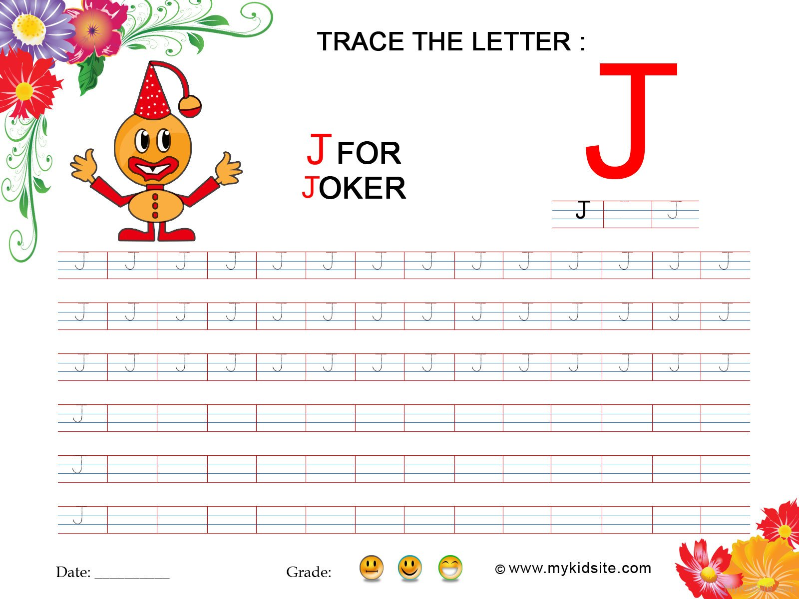 Tracing Worksheet For Letter J