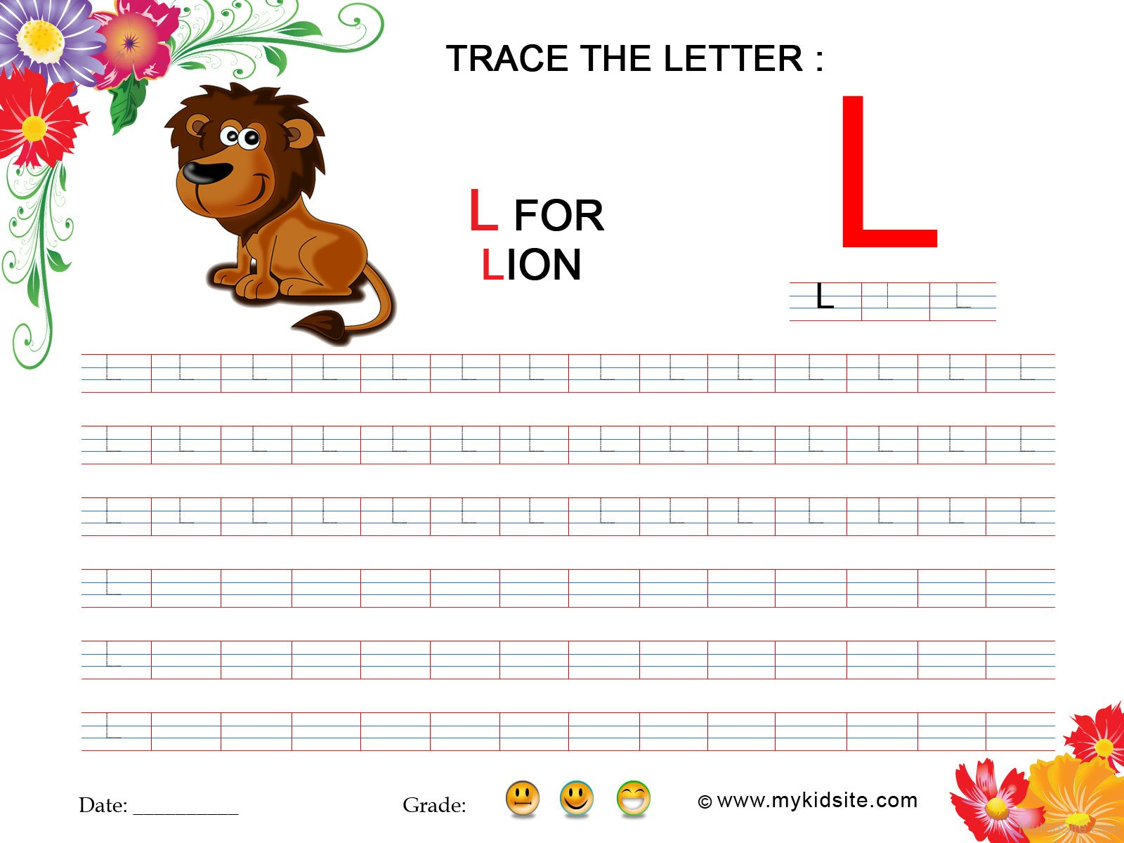 Tracing Worksheet For Letter L