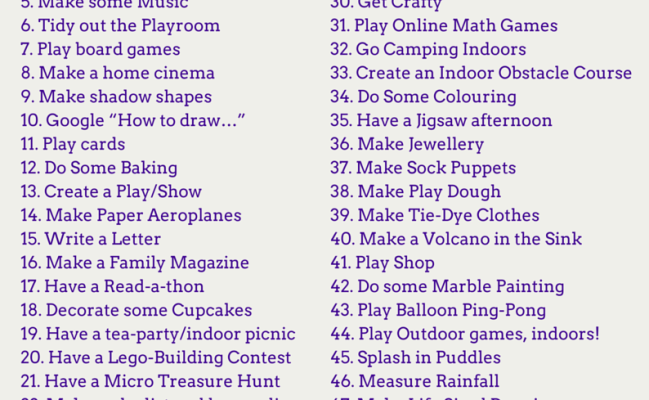 50 Fun Rainy Day Activities For Kids Checklist