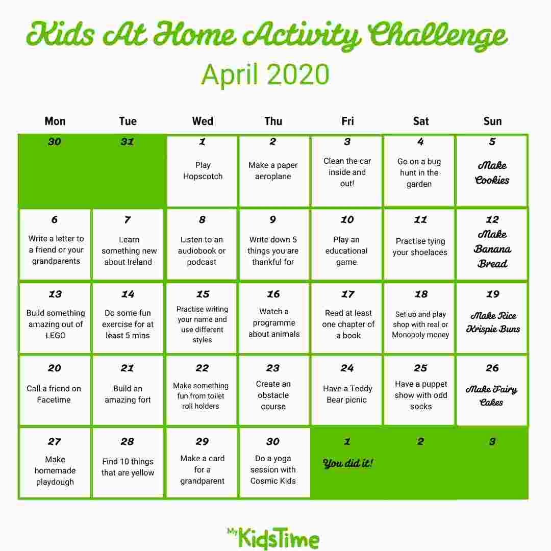 Take Our 30 Day Kids At Home Activity Challenge For April