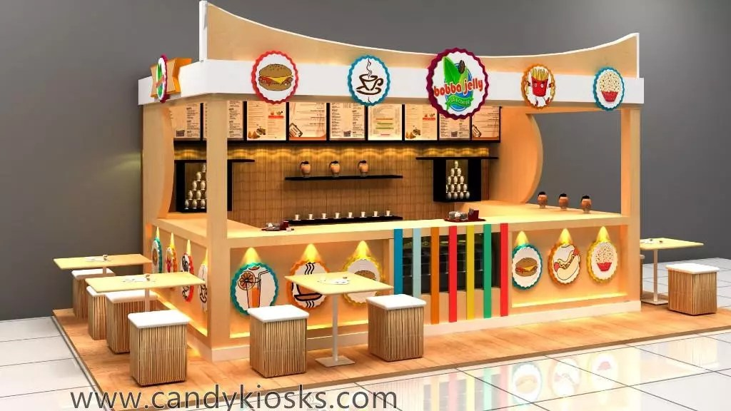 Customized Fast Food Kiosk Design In Mall For Sale