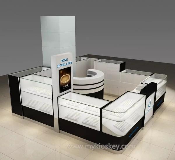 Luxurious Free Original Design Jewelry Display Showcase With Led Light Mall Kiosks Food