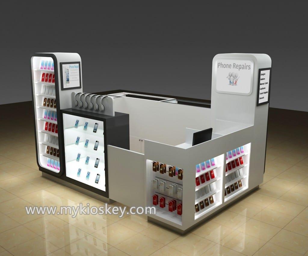 Hot sale cell phone display kiosk and phone repair counter