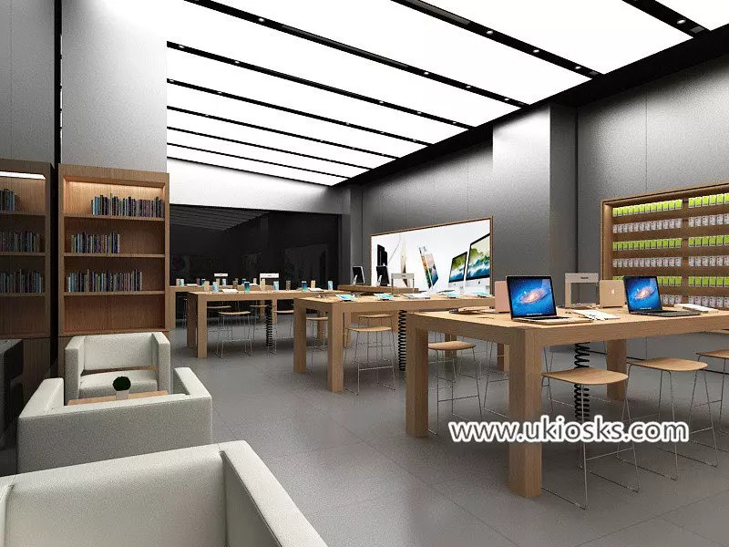Phone shop interior decoration and wooden cell phone