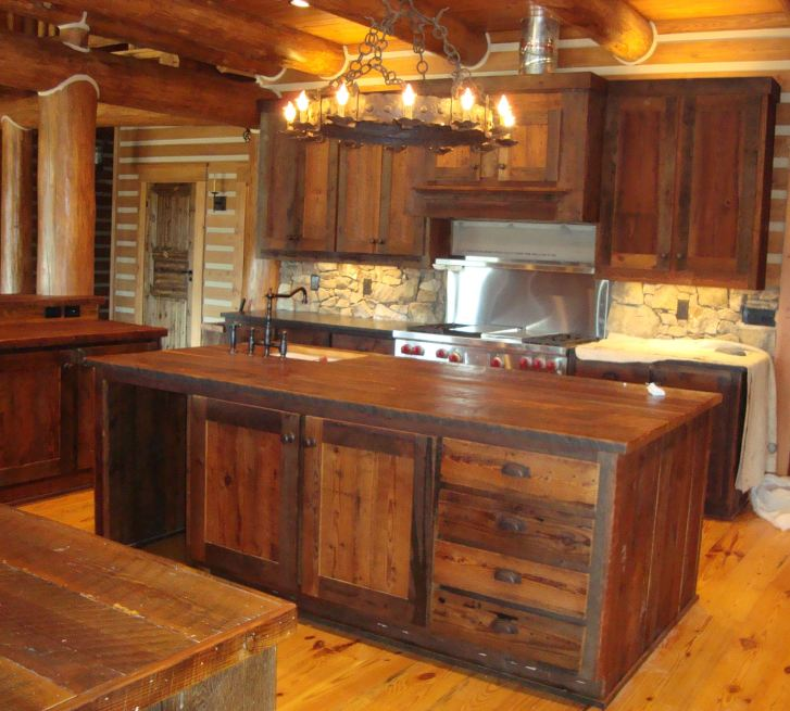 Marvelous Rustic Kitchen Cabinets Using Wood Base Material