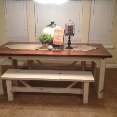 White Bench For Kitchen Table Cabinets Newark Nj Farm Farmhouse Mykitcheninterior