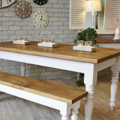 White Bench For Kitchen Table Console Farmhouse Wooden Tables As Ageless Rustic Interior