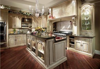 Elegant Kitchen Design White Cabinets Wood Floor Home