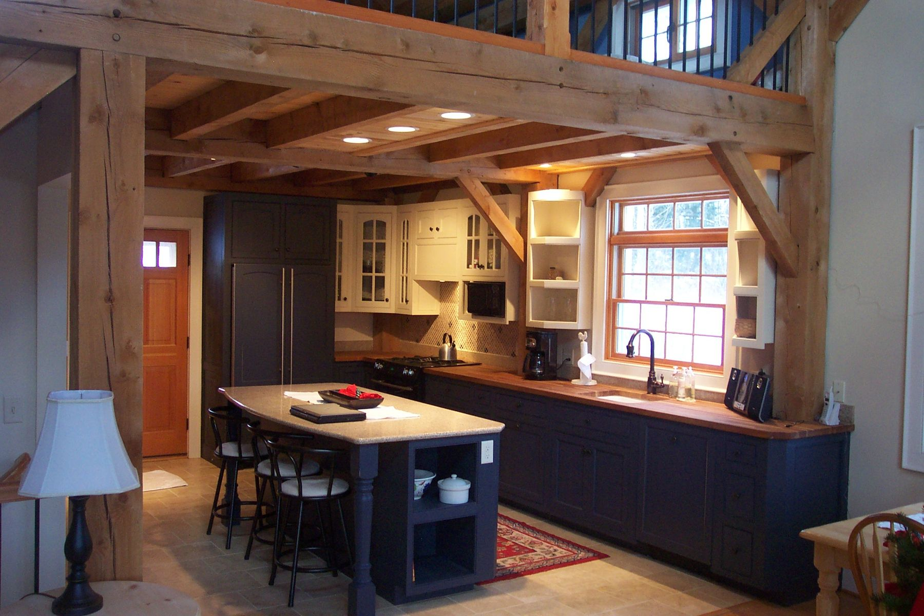 cabinet colors for small kitchens flooring rustic colonial style kitchen design with exposed beam and ...