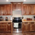 Splendid hickory kitchen cabinets in natural color of wood also