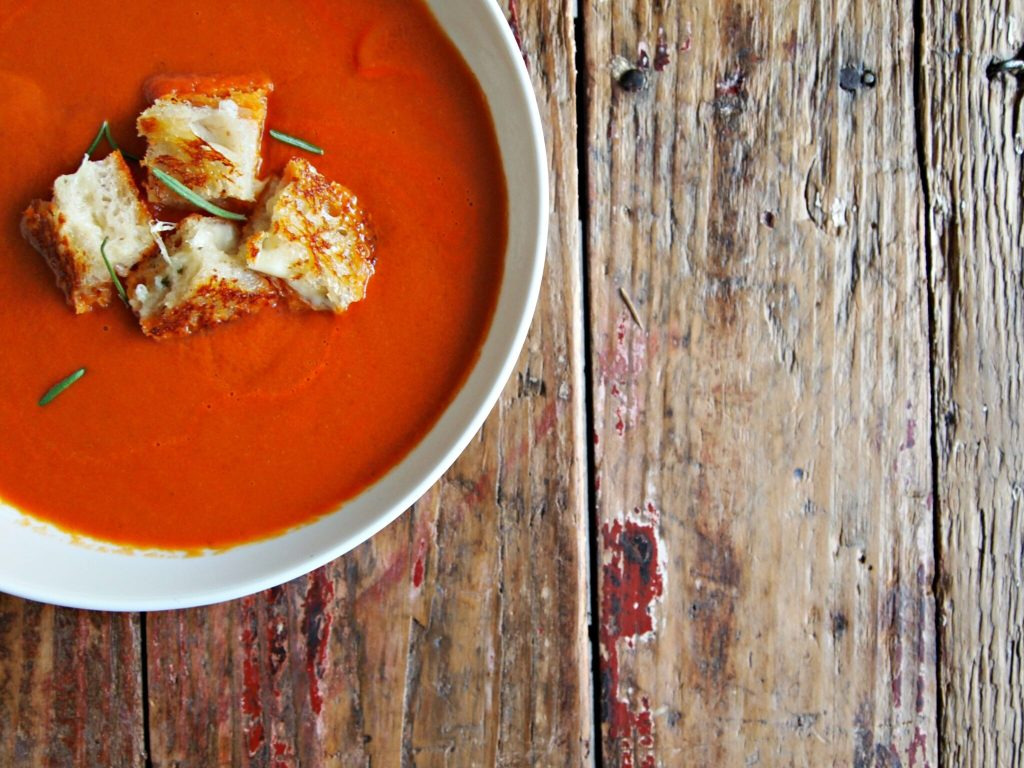 My Kitchen Love Blog - Creamy Tomato Soup with Rosemary Fontina Grilled Cheese Croutons