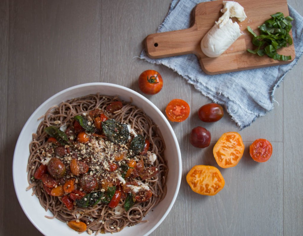 Spaghetti with Tomatoes and Hazelnuts - My Kitchen Love Blog