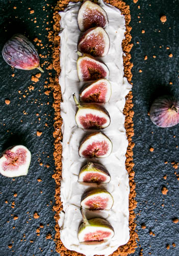 Fig and Mascarpone Tart with a Gingersnap Crust and Caramel | My Kitchen Love