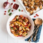 Nectarine Panzanella Salad with Homemade Garlic Basil Croutons