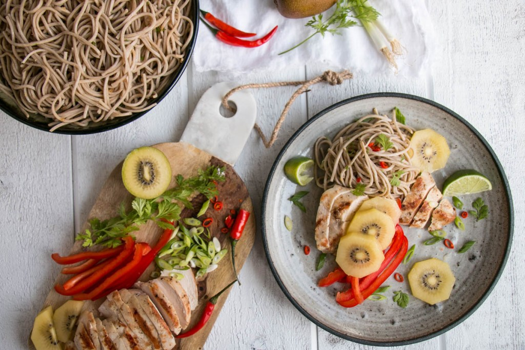 Kiwifruit Chicken Soba Noodle Salad