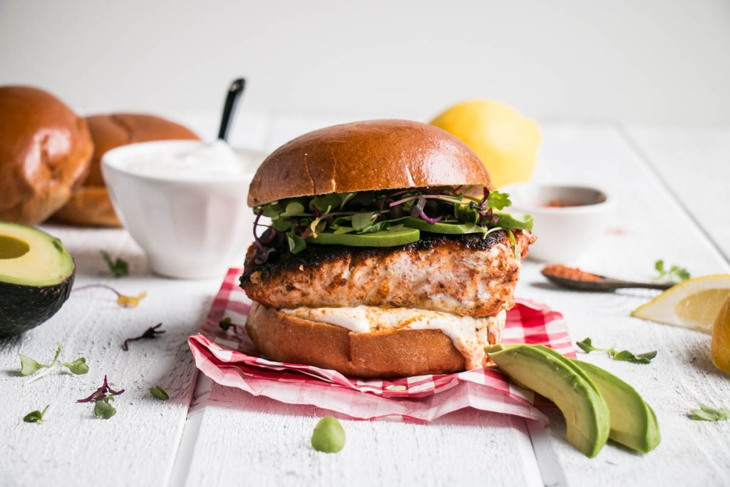 Blackened Harissa Halibut Burgers