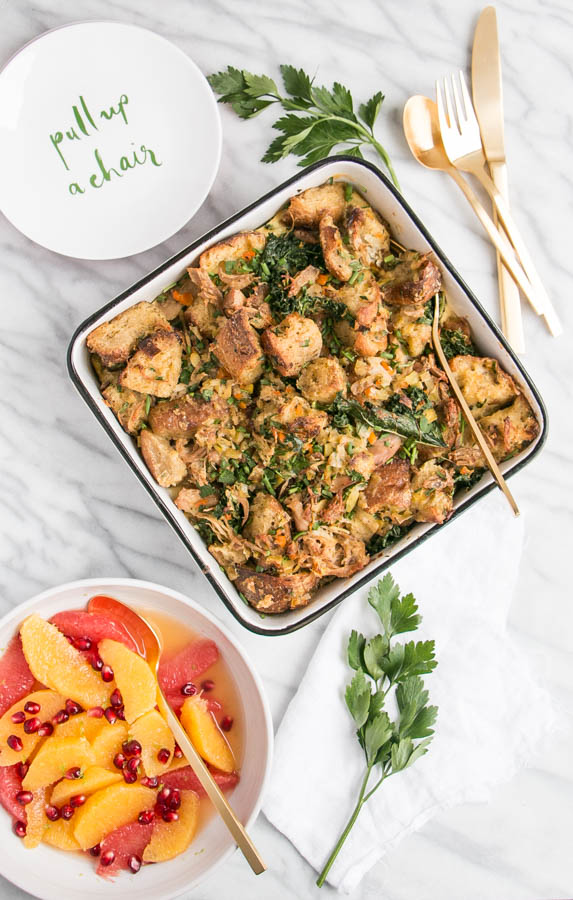 Kale and Stuffing Strata