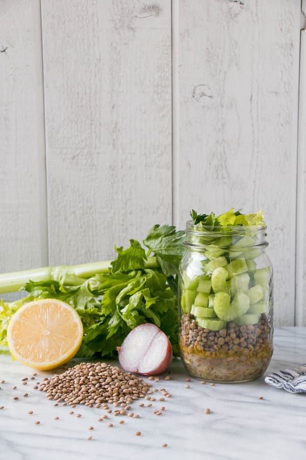 Lentil Celery Salad with Shallot Vinaigrette | My Kitchen Love