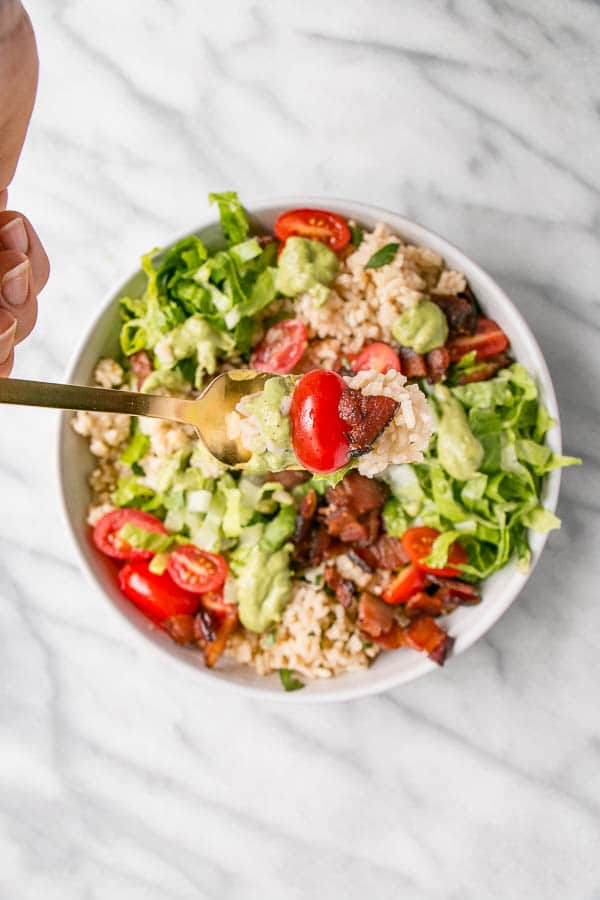 BLT Rice Bowl with Avocado Lime Dressing | My Kitchen Love {#ad}