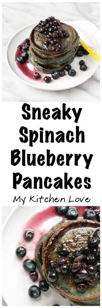 Sneaky Spinach Blueberry Pancakes | My Kitchen Love