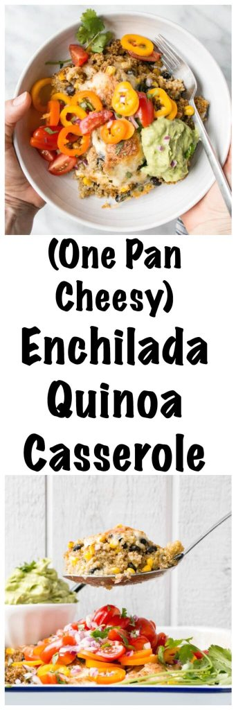 Enchilada Quinoa Casserole | My Kitchen Love. #Onepot #cheesy and #healthy supper. Throw in the oven for a hands off #easymeal.