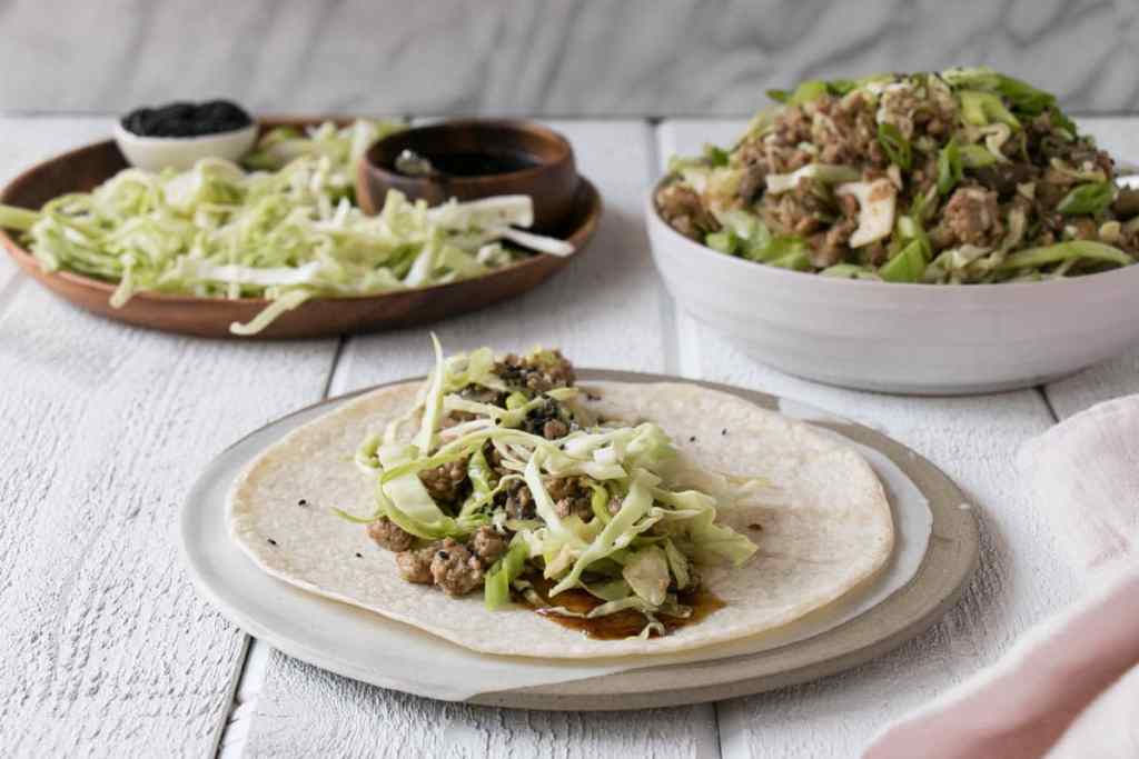 Hoisin Mushroom and Cabbage Wraps. Quick and easy, one pan supper that the entire family will devour!
