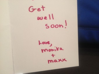 cat sends Get well card to cat