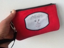 red ultra suede iPhone wristlet