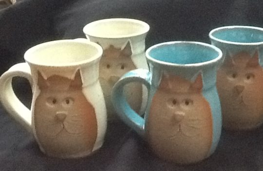 handcrafted cat coffee mugs