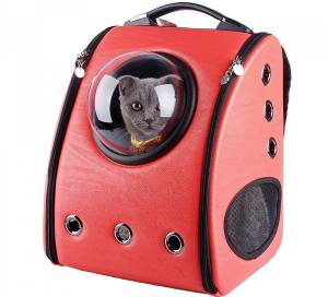u-pet red cat carrier with bubble window