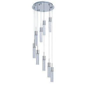 fizz iv 9 light led multi light pendant in polished chrome with bubble glass et2 lighting