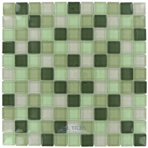 square glass tile 1 x 1 glossy thick glass mosaic in sage green blend optimal tile