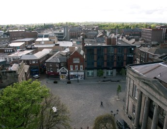 Photos of Macclesfield, taken from St Michaels Church in the main Market Square