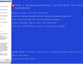 image:BSOD: DllRegister failed with the error 0X80040201 - 0-800-830-3015 (TOLL FREE)