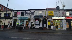 The off licence and Maxwells Chippy, Manchesters Gay Village