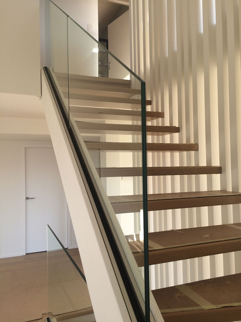 Glass Stair Railing Both Aesthetic And Safe My Laminated Glass   Glass Stair Railing Near Me   Interior   Railing Systems   Stainless Steel   Tempered Glass Panels   Iron