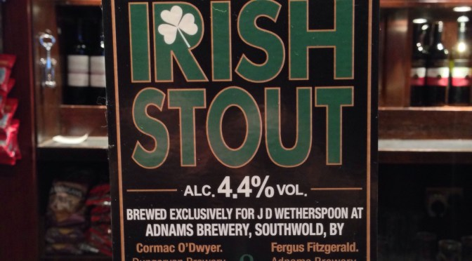 Irish Stout – Two Brewers (Adnams) Brewery