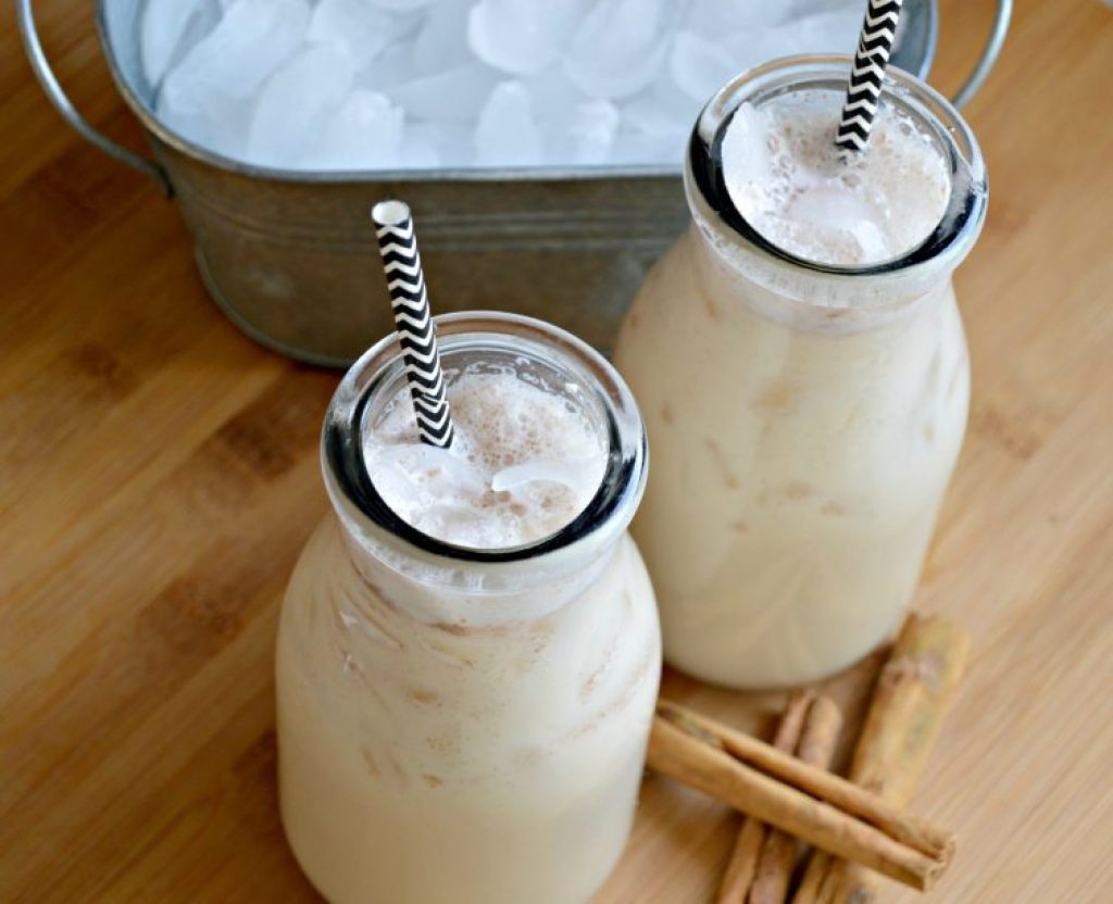 Creamy authentic horchata in glass cups