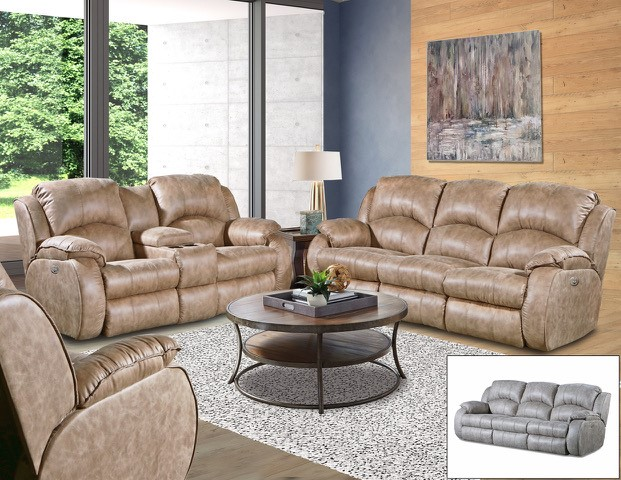 SOUTHERN MOTION RIVER RUN VINTAGE SOFA AND RECLINER